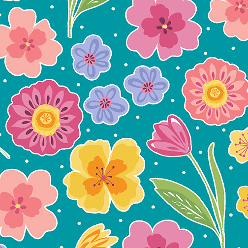 10291-84 FULL BLOOM FLORAL TURQUOISE