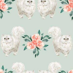 Hvite katter på mintgrønn bunn