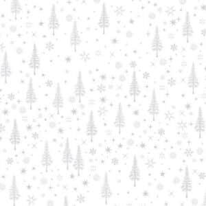 Sølv snøkrystaller og juletrær